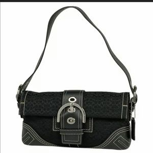 Authentic Coach mini 3628 black canvas, leather